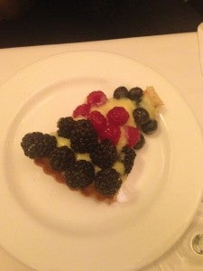 Custard with fresh berries.