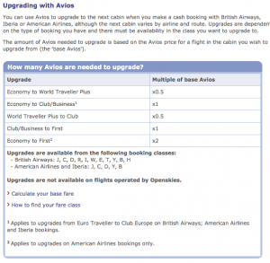 British Airways Avios Upgrades