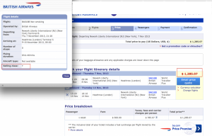 British Airways Prem Econ 1285