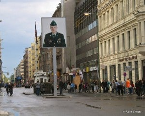 Checkpoint Charlie was the crossing point from East Berlin to the American sector during the Communist rule.