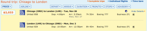 Chicago to London on United for $2,033.