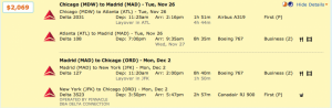 Chicago to Madrid for $2,069 - with half the trip in First Class!