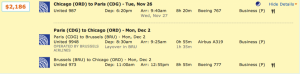 Chicago to Paris on United returning through Brussels for $2,186.