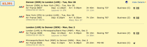 Denver to London on Air France through New York and returning through Minneapolis/ Saint Paul for $2,391.