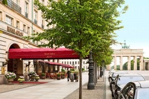The elegant exterior of the Hotel Adlon Kempinski Berlin reflects its history as a luxury resort.