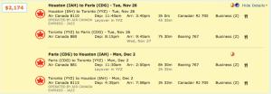Houston to Paris on Air Canada through Toronto