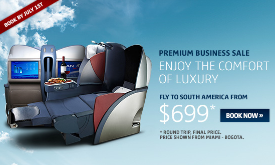 LAN is offering Premium Business flights to South America starting at $699 round trip.