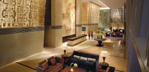 The grand lobby of the Shangri-La China World Summit Wing.