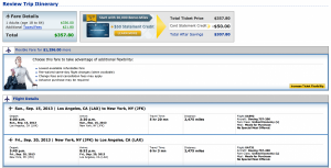 Los Angeles-New York is roughly $350 round-trip.