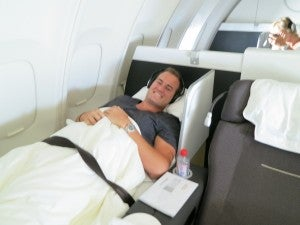 Flying in style: Lufthansa first class on the 747 upper deck Frankfurt-Miami
