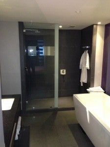 Bathroom with rain shower and separate bathtub.