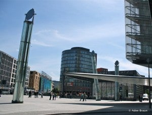 Potsdamer Platz is a bustling intersection that was laid waste during World War II but has since been redeveloped.