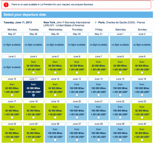 No first class awards available on the Air France site.