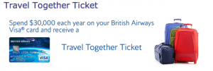 Earn the British Airways Travel Together ticket by spending $30,000 per calendar year on your British Airways Visa.