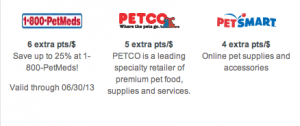 In the Chase Ultimate Rewards mall you can search for pet supplies and earn extra points.