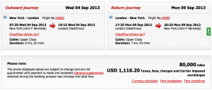 New York- London Upper Class Award on Virgin Atlantic for 80,000 miles and $1,116.20 in taxes and fees.