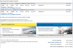 New York-Lonodn on Virgin Atlantic as a Delta codeshare.