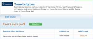 Earn 2 extra points per dollar when booking through Travelocity from the Ultimate Rewards shopping portal.