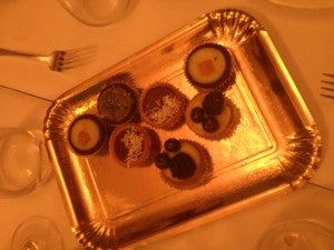 The waiter also brought over a dish of complimentary tarts.