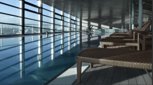 The Club Olympus Spa Pool at the Grand Hyatt Berlin offers sweeping views of the city.