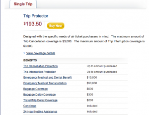 Insurance for a trip to italy through United Airlines costs $193.
