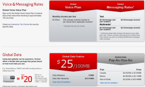 Verizon's comprehensive international calling/messaging plans offer a variety of global options.