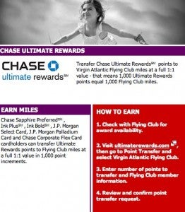 Virgin Atlantic became partners Chase Ultimate Rewards in April.