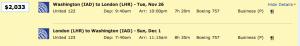 Washington Dulles to London on United for $2,033.