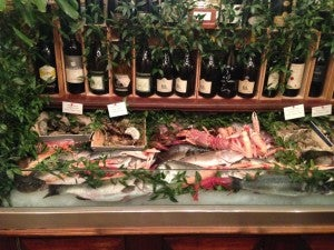 Fresh seafood at the entrance of Ristorante Giacomo.