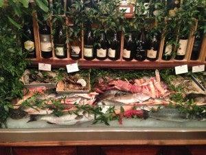 Fresh seafood at the entrance of Ristorante Giacomo.