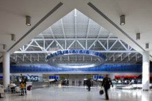 Traveling through JetBlue's T5 at JFK? You'll have free WiFi. Photo courtesy of Rockwell Group.