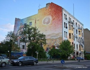 The artistic hub features colorful murals on many of its buildings.