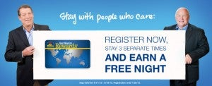 Stay 3 times and earn a free night with Best Western.
