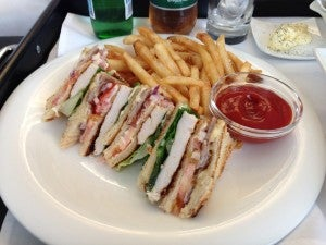 A huge club sandwich and fries was an ample room service meal.