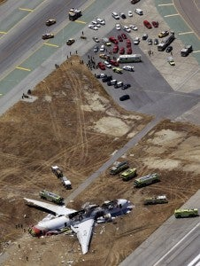 An aerial view of the Asiana crash scene (AP Photo/Marcio Jose Sanchez).