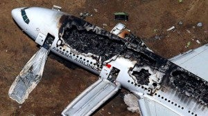The burned out wreckage of the Asiana crash.