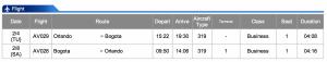 Avianca MCO-BOG Business Class Feb 4 - Feb 8