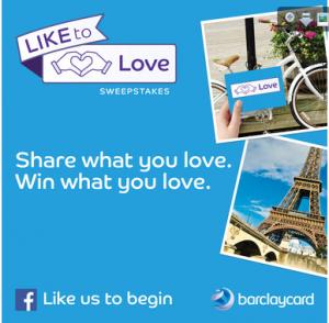 Barclaycard announced their #LiketoLove social media campaign on Tuesday.