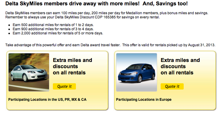 Using Delta Skymiles For Rental Car