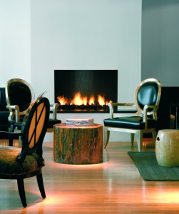 The stylish fireplace at the art decor 101 Hotel.