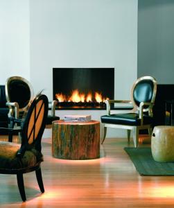 The stylish fireplace at the art decor 101 Hotel.