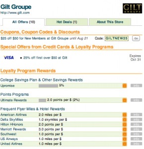 Gilt Groupe partners and points table.