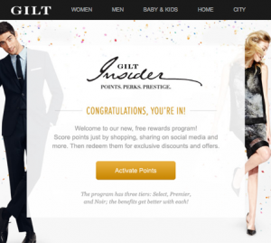 The Gilt Groupe announced their Insider loyalty program on Wednesday.