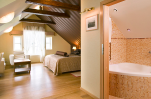 The loft-style Junior Suite at the Hotel Plaza.