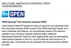 Amex OPEN Savings allows you to earn points and get a 5% discount
