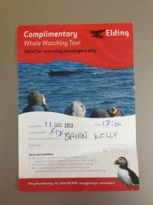 My voucher for one free whale watching tour with Elding.