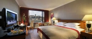 King guest room at the InterContinental Budapest.