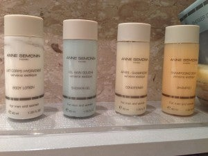The bathroom featured Radisson's signature Anne Semonin product collection.