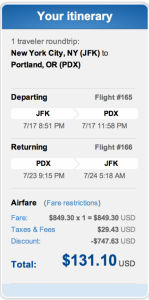 JFK to Portland, Oregon for $131 roundtrip.