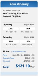 JFK to Portland, Oregon for $131 roundtrip.